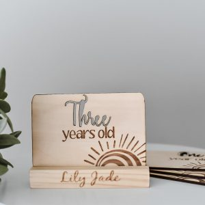 Timber Yearly Milestone Card - Three years old