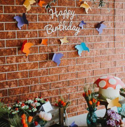 Happy Birthday wall sign partyora styled shoot