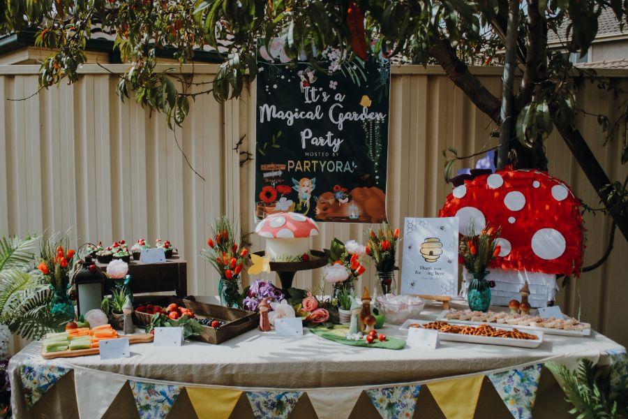Bunnies and bee backdropmagical garden party
