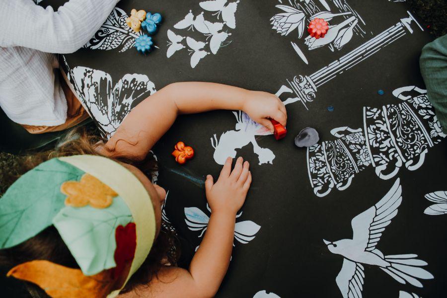 kids crayons magical garden shoot