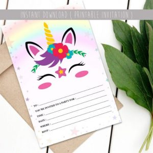 Unicorn printable birthday invite