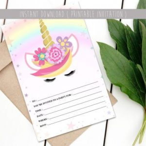 Printable affordable unicorn invite