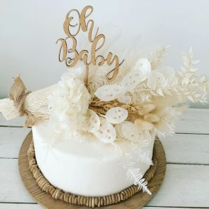 oh baby timber cake topper