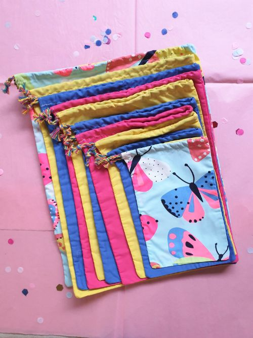 Fabric pass the parcel reusable butterly