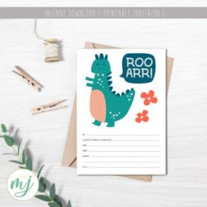 Dino party printable invite