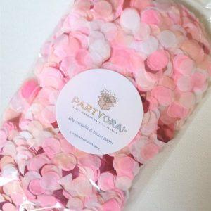 pink and peach confetti