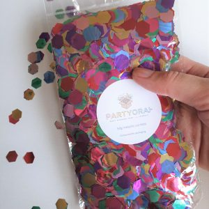 metallic rainbow confetti