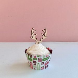 wooden antler cupcake toppers