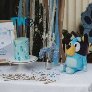 bluey inspired puppy pawty welcome sign