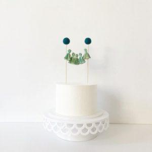 green tassel cake topper tassels