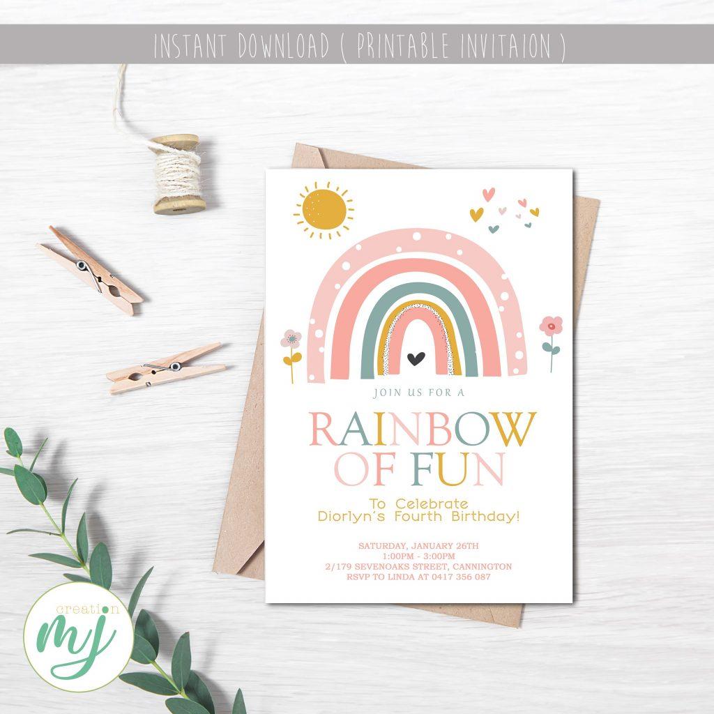 Boho rainbow birthday
