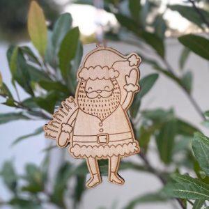 Santa wooden customisable ornament